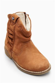 Tan Western Ruffle Boots (Younger Girls)