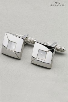 Silver Tone Signature Mother Of Pearl Cufflinks Set
