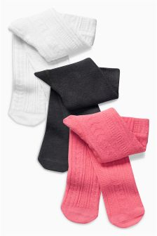 Pink/Grey Tights Three Pack (0mths-2yrs)
