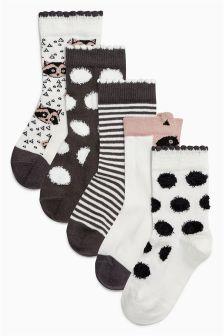 Monochrome Print Socks Five Pack (Younger Girls)