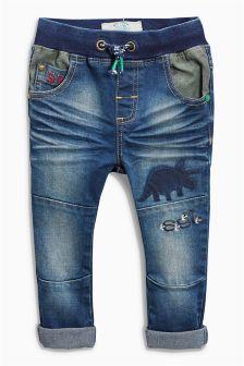 Dark Blue Jersey Dinosaur Jeans (3mths-6yrs)