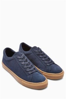 Navy Suede Lace-Up Trainer