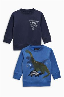 Blue Dinosaur Crew Neck Tops Two Pack (3mths-6yrs)