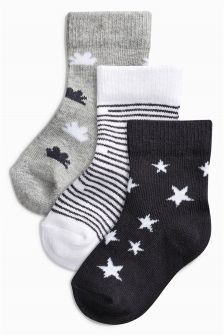Black & White Mono Socks Three Pack (Newborn)