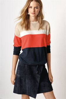 Navy Wrap Front Suede Skirt