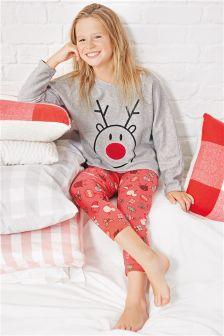 Red/Grey Reindeer Pyjamas (3-16yrs)