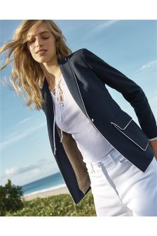 Navy Piped Seam Blazer