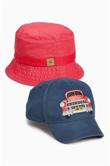 Blue/Orange Havana Cap And Fishermans Hat Two Pack (Younger Boys)