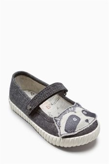 Grey Character Pumps (Younger Girls)