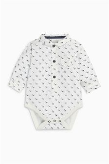 Ecru Dog Poloshirt Bodysuit (0mths-2yrs)