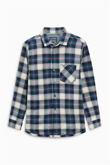 Navy Long Sleeve Jersey Lined Check Shirt (3-16yrs)