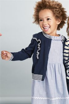 Navy Ruffle Cardigan (3mths-6yrs)