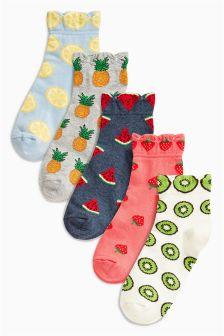 Multi Pattern Fruits Trainer Socks Five Pack