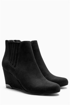Black Chelsea Wedge Ankle Boots