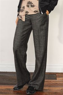 Grey Premium Wool Wide Leg Check Trousers