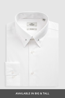 Plain White Button Down Collared Shirt