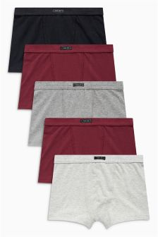 Plum/Grey Trunks Five Pack (2-16yrs)