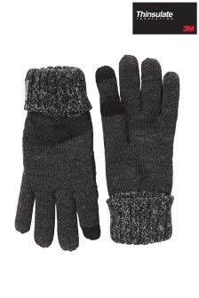 Grey Thinsulate Gloves With Touch Screen Tips