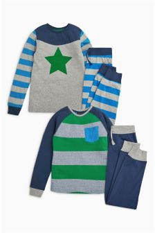 Green/Grey Star And Stripe Pyjamas Two Pack (3-16yrs)