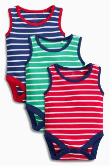 Bright Stripe Vests Three Pack (0mths-2yrs)