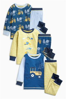 Blue/Yellow Tractor Pyjamas Three Pack (9mths-8yrs)