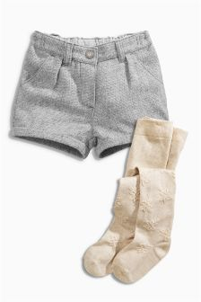 Grey Textured Shorts And Tights Set (3mths-6yrs)