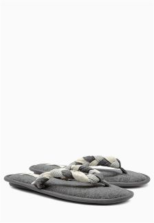 Grey Plaited Toe Thong Slippers