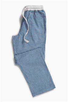 Blue Mini Check Woven Bottoms