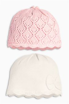 Pink/Ecru Knit Hats Two Pack (0mths-2yrs)