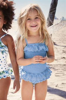 Blue Broderie Swimsuit (3mths-6yrs)