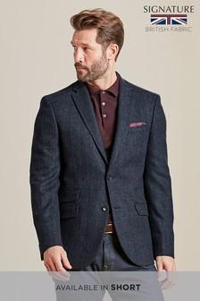 Blue Check British Wool Slim: Jacket