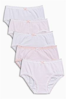 Pink/White Briefs Five Pack (1.5-16yrs)