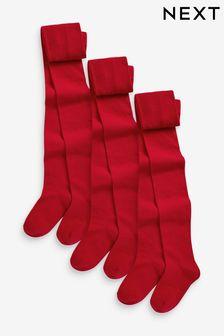 Red School Tights Three Pack (3-16yrs)