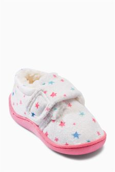 White Star Print Slippers (Younger Girls)