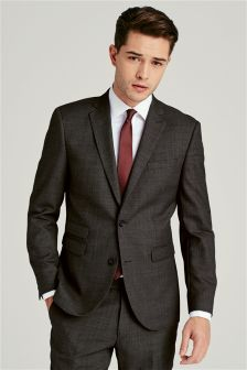Charcoal Texture Tailored Fit Suit: Jacket