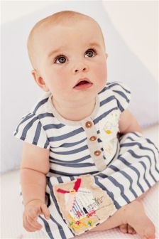 White & Blue Stripe Embroidered Dress (0mths-2yrs)