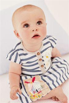 White & Blue Stripe Embroidered Dress (0mths-2yrs)