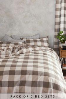 2 Pack Gingham Bed Set