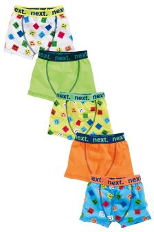 Bright Emoji Trunks Five Pack (2-16yrs)