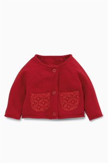 Red Broderie Trim Cardigan (0mths-2yrs)