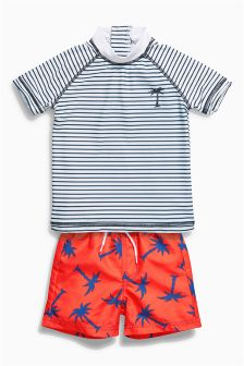Red/Navy Stripe And Palm Tree Two Piece Swim Set (3mths-6yrs)
