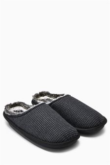 Grey Check Memory Foam Mule