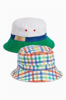 Multi Plain and Check Fisherman Hats Two Pack (Younger Boys)