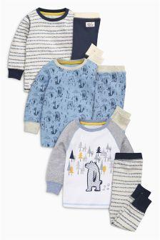 Blue Bear Pyjamas Three Pack (9mths-8yrs)