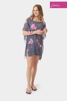 Joules Navy Orchid Print Cover Up