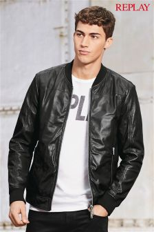 Replay® Navy Leather Bomber Jacket