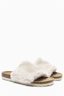 Cream Faux Fur Slider Slippers