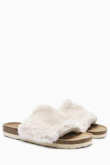 Cream Fur Faux Fur Slider Slippers