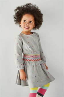 Grey Spot Shirred Waist Dress (3mths-6yrs)