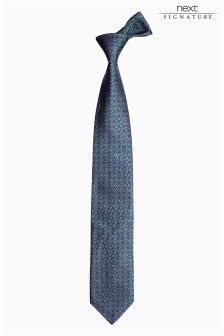 Teal Signature Made In England Silk Tie